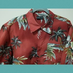 Other - Burnt Orange Hawaiian Shirt w/ Palm Trees